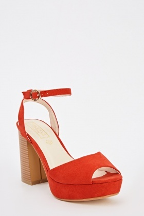 Red Suedette Open Toe Heeled Sandals