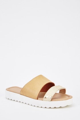 Strappy Faux Leather Sliders