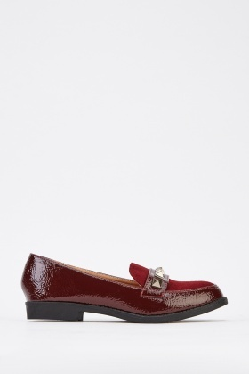 Studded Front Contrast Loafers