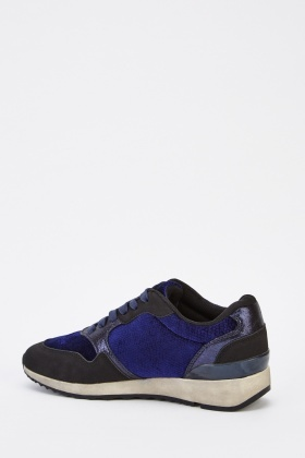 Velveteen Contrast Low Top Trainers