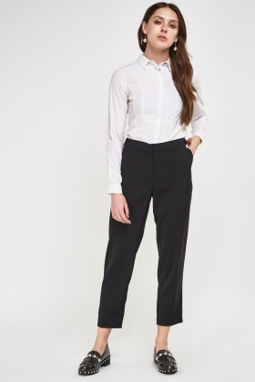 Button Detail Side Formal Trousers