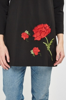 Embroidered Flower Longline Top