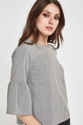 Flare Sleeve Checked Top
