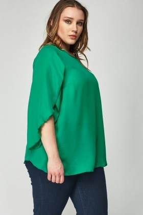 Green Sheer Flare Sleeve Top