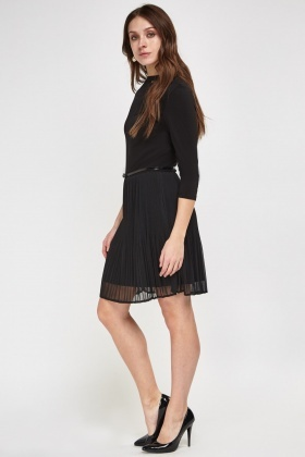 Pleated Hem Lace Insert Dress