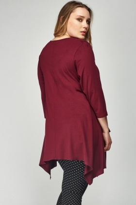 Plum Asymmetric Twin Pocket Top
