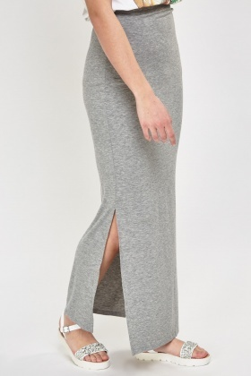 Slit Side Grey Maxi Skirt