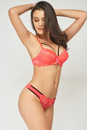 Strappy Lace Overlay Bra And Brief Set