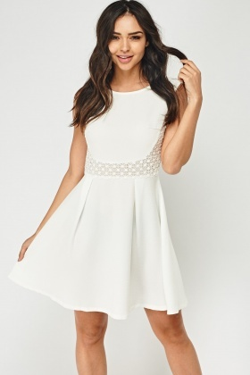 Crochet Front Sleeveless Swing Dress