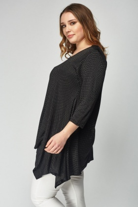Knitted Black Asymmetric Top