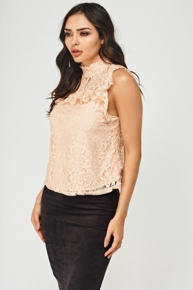 Lace Overlay Frilled Trim Top