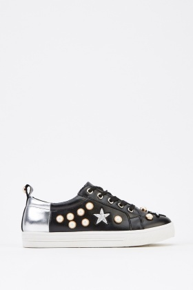 Metallic Embellished Low Top Trainers