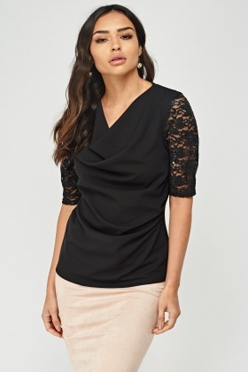 Ruched Front Lace Sleeve Top