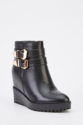 Buckle Detail Faux Leather Wedged Boots