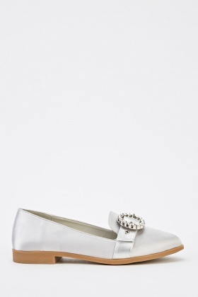 Embellished Buckle Detail Sateen Shoes