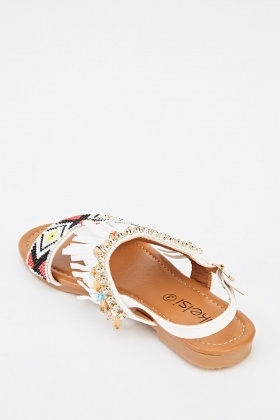 Fringed Front Beaded Flat Sandals
