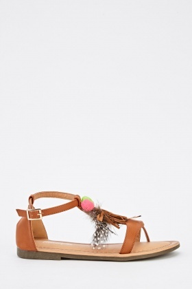 Pom Pom Detail Faux Leather Sandals
