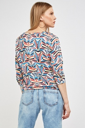 3/4 Sleeve Printed Casual Top