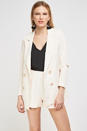 Double Breasted Blazer And Shorts Set