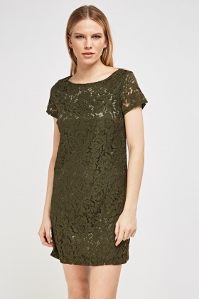 Lace Overlay Shift Mini Dress
