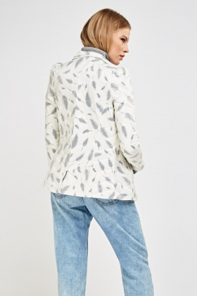 Quilted Feather Print Jacket