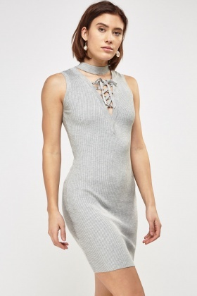 Choker Neck Tie Up Front Dress