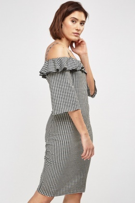 Cold Shoulder Bodycon Gingham Dress