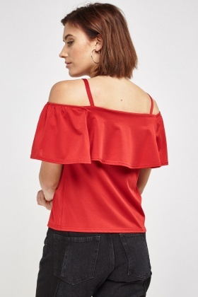 Cold Shoulder Flare Overlay Top