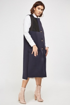 Contrast Patch Sleeveless Coat