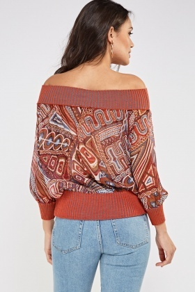 Contrast Trim Printed Sheer Top
