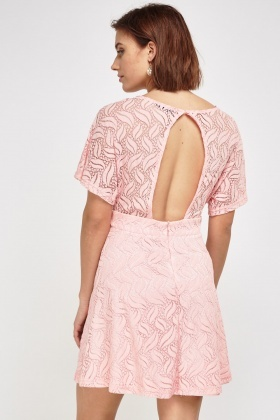 Cut Out Back Mesh Overlay Dress