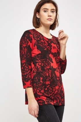 Digital Printed Long Sleeve Top