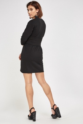 Fitted Waist Black Basic Dress