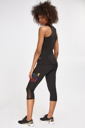 Mesh Insert Sports Tank Top And Cropped Leggings Set