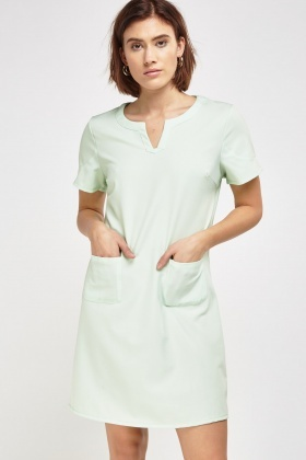 Pocket Front Shift Casual Dress