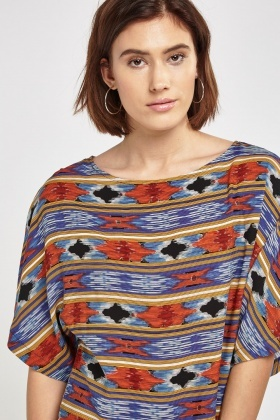 Printed Batwing Sleeve Tunic Top