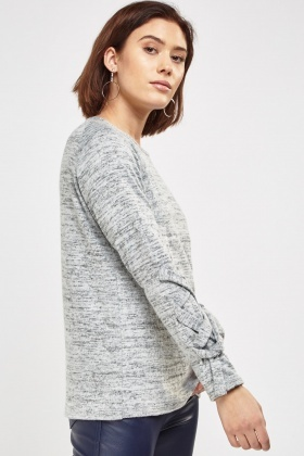 Tie Up Overlay Sleeve Basic Top