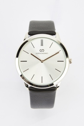 Analog Faux Leather Watch