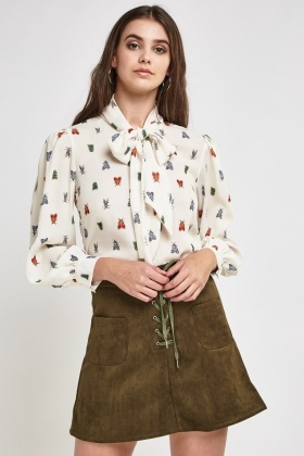 Butterfly Print Tie-Up Neck Blouse