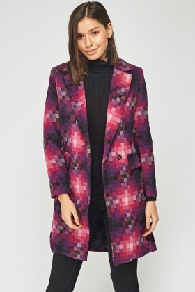 Checker Board Double Breasted Coat