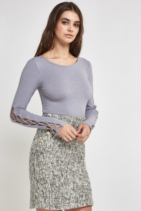 Crisscrossed Sleeve Ribbed Top