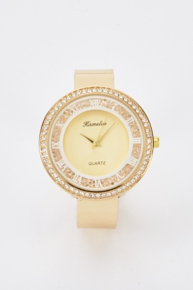 Move Stone Encrusted Bangle Watch