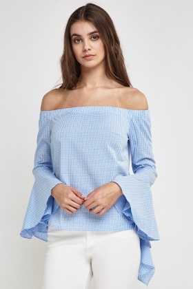 Off Shoulder Gingham Top