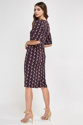 Printed Midi Flare Sleeve Dress