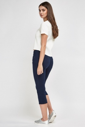 Slim Fit Ankle Cropped Trousers