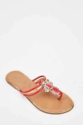 Embellished Front Sandals