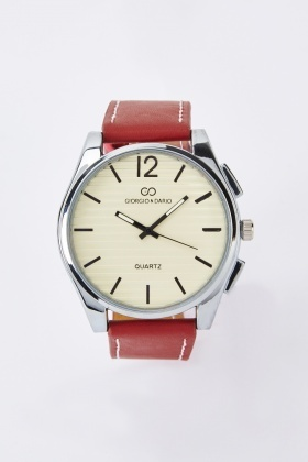 Mens Contrast Faux Leather Watch