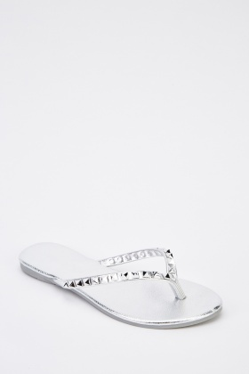 Metallic Studded Flip Flops
