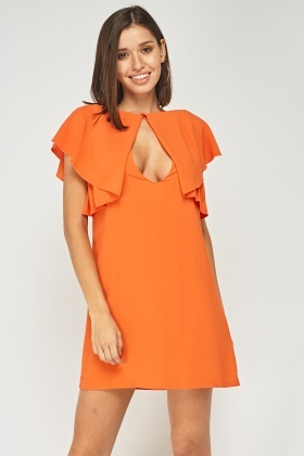 Frilled Keyhole Front Dress