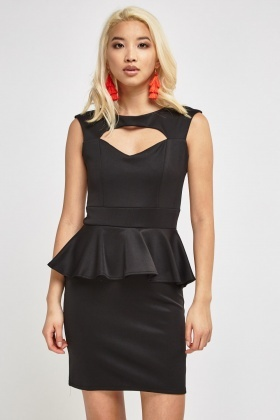 Keyhole Cap Sleeve Peplum Dress